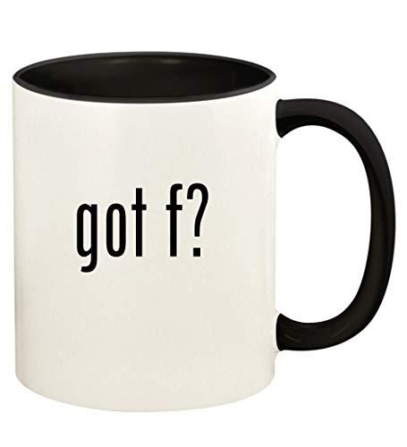 got f? - 11oz Ceramic Colored Handle and Inside Coffee Mug Cup, Black
