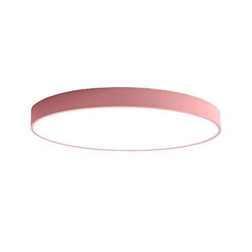 PUCHIKA LED Deckenleuchte 30W Ultra Dünn Deckenlampe Bürolampe Rund Wohnzimmer Kinderzimmer Deckenlampen,Pink,40cm