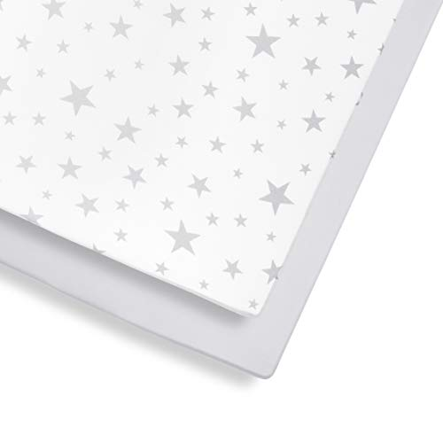 Snuz Cot and Cot Bed Fitted Sheet, Grey Star, Grey/White, 390 g,BD028CB