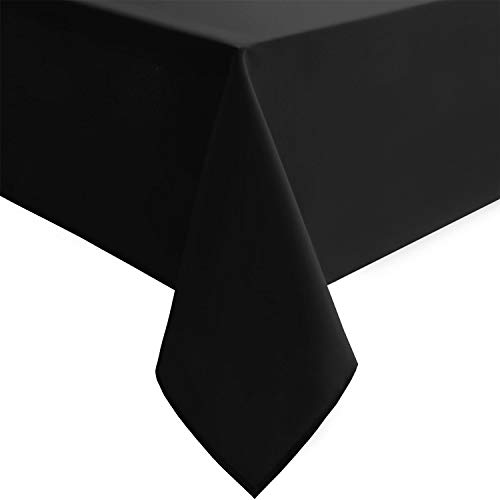 Hiasan Black Rectangle Tablecloth - Wrinkle Resistant and Waterproof Washable Polyester Fabric Table Cloth for Dining Camping Gathering and Outdoor use, 54 x 80 Inch