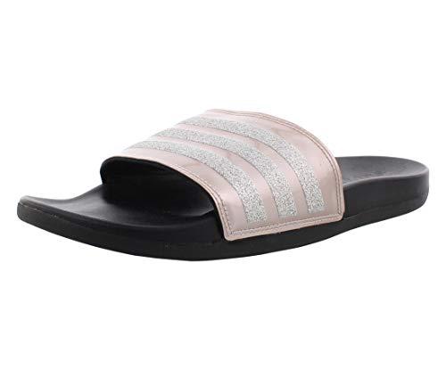 adidas Women's Adilette Comfort Slide Sandal, Vapour Grey Metallic/Vapour Grey Metallic/Black, 8 M US
