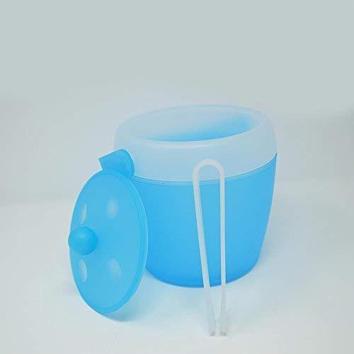 DRULINE Ø 17,5 x 19,5cm Eiswürfelbehälter mit Zange und Deckel Premium Eiseimer, wählbar Eiskübel Eiskühler Eisbehälter Eiswürfelform sektkühler Weinkühle 2 Liter Lange Kühlung Türkis