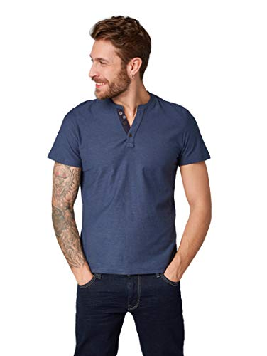 TOM TAILOR Herren T-Shirts/Tops Henley Shirt  Cyber Grey Yarndye Stripe,M