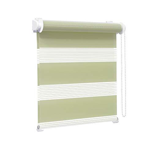 Victoria M. Zevra Estor Doble Enrollable - Estor día y Noche translúcido, 150 x 160 cm, Verde Pistacho
