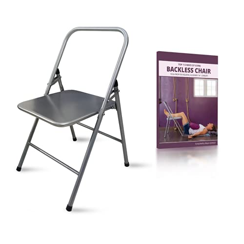 Samadhaan Iyengar Backless Yoga Chair - Prop for Flexibility and Strength Training. Portable Folding Yoga Chair with MS Frame and Non-Slip Feet Covers. 100kg Capacity, Silver