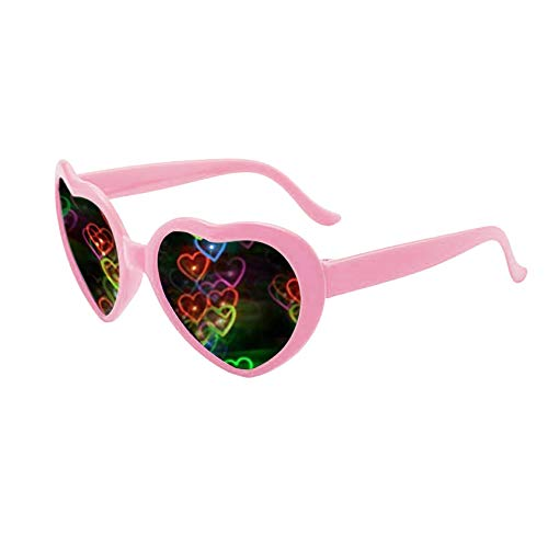 Heart Effect Diffraction Glasses - See Hearts - Special Effect Rave EDM Festival Glasses Light Changing Eyewear