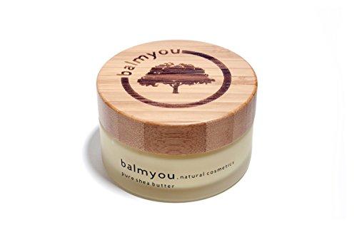 Balmyou Nilotica Sheabutter, burro di karitè puro, barattolo da 100ml con coperchio di bambù, provenienza: Uganda, cosmetica biologica, non raffinato, pressato a...