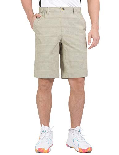 Little Donkey Andy Men's Quick Dry Shorts with Elastic Waist for Golf Hiking Khaki XXL