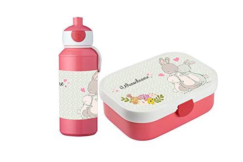 wolga-kreativ Brotdose Obsteinsatz Bento Box und Trinkflasche auslaufsicher BPA frei für Kinder Rosti Mepal für Mädchen Hasenfamilie personalisiert mit Namen Lunchbox Brotbox mit Fächern