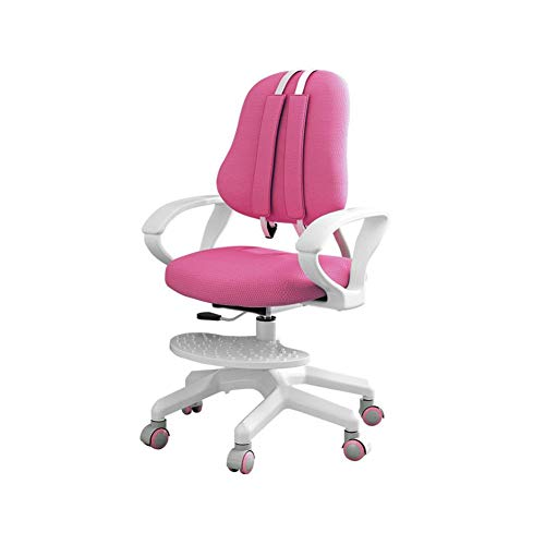 Ergonomic Kids Desk Chair, Teens Computer Chair Children Study Student Computer Chair, Mid Back Swivel Kids Desk Task Chairs, Adjustable Pedal & Height, Perfect for Growing Children (Pink)