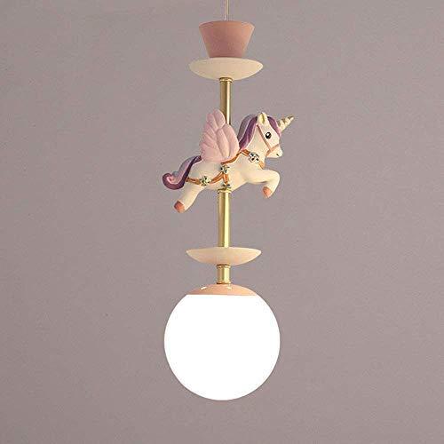 Chandelier unicorn protein glass ball chandelier bedroom study room lighting E14 height adjustable kindergarten chandelier,Pink-1 lamp
