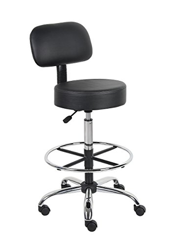 Boss Office Products B16245-BK Be Well Medical Spa Drafting Stool with Back,  Black (Renewed)