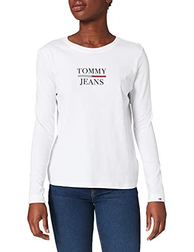 Tommy Jeans Tjw Slim Essential Tommy tee LS Camiseta, Blanco, M para Mujer
