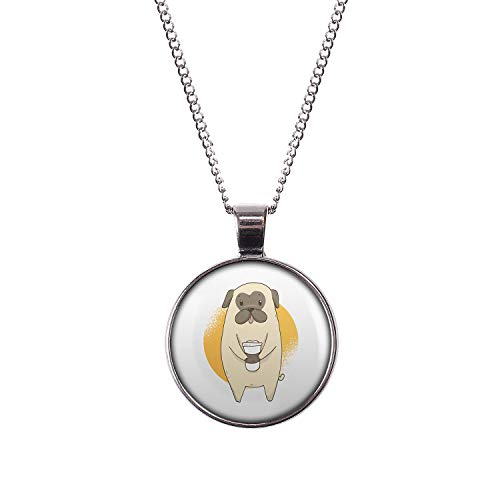 Mylery Hals-Kette mit Motiv Mops Hund Pug Süß Kaffee-Becher Silber 28mm