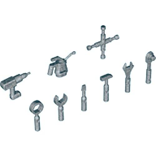 LEGO Star Wars - 9-teiliger Werkzeugsatz für Minifiguren in Silber Schraubenzieher Hammer Ölkännchen Schlüssel Bohrmaschine Radkreuz Zange Ratsche