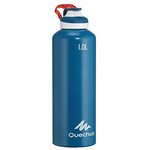 Quechua Trinkflasche 500 Schnellverschluss 1,0 Liter Aluminium Blau- Stabile Flasche für Kinder, Erwachsene - Sport Schule Arbeit Arbeit Auto Reisen zu Hause Wasser Tee Wasserflasche Flasche