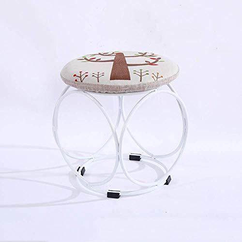 B-fengliu Ronda creativa del sofá suave heces otomana niños de bajos Hierro Metal Cambio Zapatos Banco comedor asiento de maquillaje heces Silla Mesa de café de algodón tela de lino Puf tapizado Escab