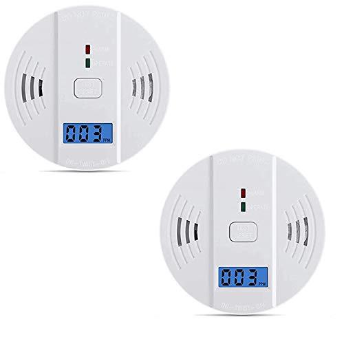 Set de 2 detectores de de monóxido de carbono, humo, gaz, con pantalla digital y sonido de alarma