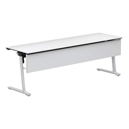 コクヨ 会議テーブル カーム KT-PJS1409SAWPAWNN 天板フラップ式 樹脂パネル付き直線タイプ 電源コンセントなし棚付き ホワイト脚/天板ホワイト 幅210×奥行き60cm