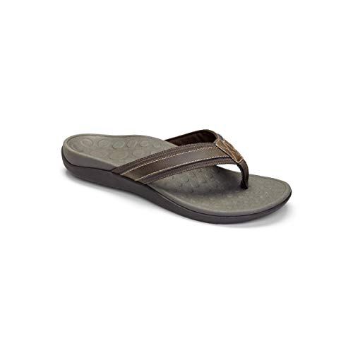 Vionic Men's Tide Toe-Post Sandal - Flip Flop with Concealed Orthotic Arch Support Brown 12 M US