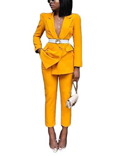 ORANDESIGNE Completo da Donna in Due Pezzi Basic Slim Fit Business Blazer Elegante Regular Fit Ufficio Cappotto OL Giacca Cardigan A Blu 42