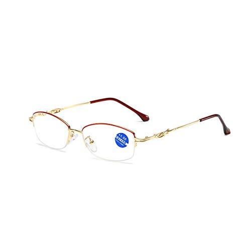 LGQ Gafas de Lectura Elegantes de Media Montura, Lentes de R
