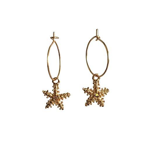 Gioielli di moda carino piccolo oro colore Starfish orecchini per le donne semplice sottile oro colore cerchio orecchini
