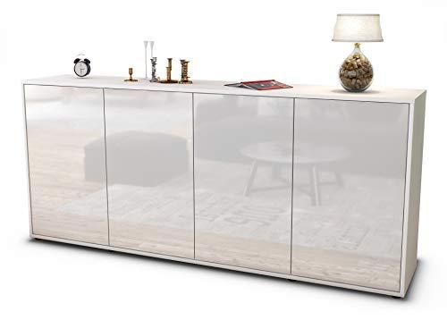 Stil.Zeit Sideboard Elana/Korpus Weiss matt/Front Hochglanz Weiß (180x79x35cm) Push-to-Open Technik