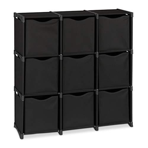 Relaxdays Steckregal mit Stoffboxen, 9 Fächer, HxBxT: 95 x 93 x 30 cm, Würfelregal zum Stecken, erweiterbar, schwarz
