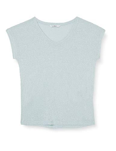 ONLY Damen T-Shirt onlSILVERY S/S V Neck Lurex TOP JRS NOOS, Blau (Morning Mist), 42 (Herstellergröße: XL)