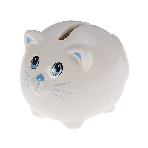LF stores Huchas Monedas de cerámica Hucha Gato Caja de Seguridad Caja de Billetes de Banco de Ahorro for niños Niños Niñas Hucha Bancos de Dinero (Color : White)