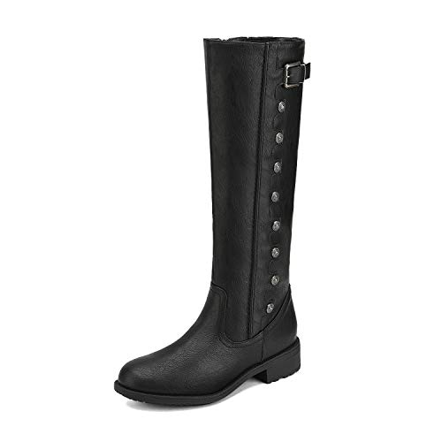 DREAM PAIRS Women's Army Black Pu Leather Knee High Winter Riding Boots Size 5.5 M US