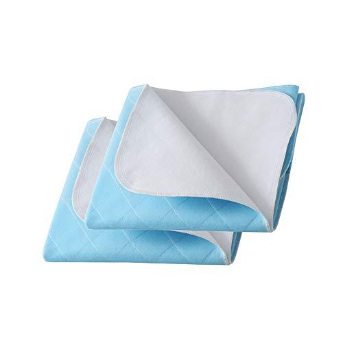 Beedsooth Juego de 2 Almohadillas Reutilizable Lavables, Protector de Colchón Incontinencia, Acolchado Absorbente Láminas - 70x90cm, Azul ✅