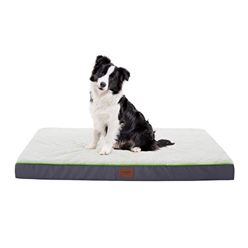 Love's cabin Large Dog Bed for Small, Medium, Large Dogs with Removable Washable Cover - Orthopedic Memory Foam Sherpa Dog and Cat Bed for Crate, Cage and Kennel- 6 Sides Waterproof Cozy Dog Bed Beds
