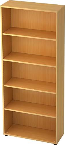 bümö® Aktenregal aus Holz | Büroregal für Aktenordner | Regal für Ordner | Bücherregal inkl. Einlegeböden | in 5 Farben verfügbar (Buche, H 188cm = 5 Ordnerhöhen)