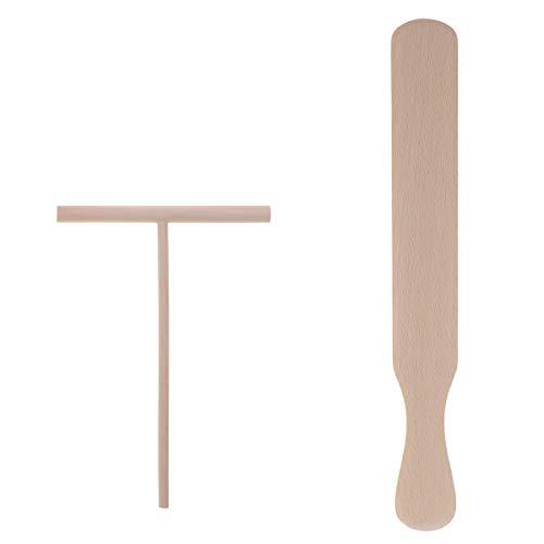 Tamkyo Juego de 2 utensilios de cocina para tortitas y espátulas de madera para crepé y esparcidor de tortillas, herramientas de cocina