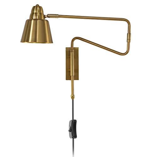 Wandleuchte Schlafzimmer Verstellbar Nachttischlampe mit Schalter, 360° Schwenkarm Flexible Wand-Leselampe mit Stecker und 1.8m Kabel, Innen Wohnzimmer Büro Studieren E27 Wandlampe,Gold