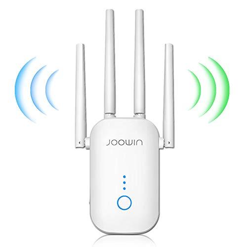 JOOWIN Amplificador Señal WiFi 1200Mbps Banda Dual 2.4GHz y 5GHz Repetidor WiFi Punto de Acceso Inalámbrico Extensor de WiFi, 4 Antenas, Puerto Ethernet LAN/WAN, 3 Modos