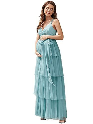Ever-Pretty Vestido de Fiesta Largo para Mujer Embarazada Sin Mangas de Tirante Apoyos De Fotografía con Cinturón Azul Polvoriento 36