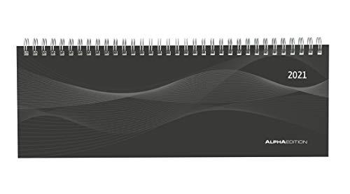 Tisch-Querkalender Profi schwarz 2021 - Büro-Planer 29,7x10,5 cm - Tisch-Kalender - 1 Woche 2 Seiten - Ringbindung - Alpha Edition