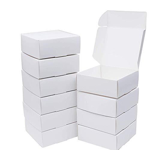 Cajas de Regalo(Pack de 10)- 12cm x 12cm x 5cm, Blanco, Kraft Papel Cajas Regalo - Autoensamblables Caja Presentación para Chocolates, Regalos, Galletas, Joyas, Fiestas y Festivales