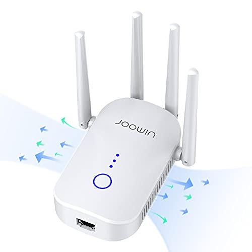 JOOWIN Repetidor WiFi 1200Mbps Amplificador WiFi 2.4 GHz y 5GHz Doble Banda Extensor de Red WiFi Soporte Ap / Router / Repeater Mode, Repetidores WiFi Largo Alcance con 4 Antenas, Puerto Ethernet