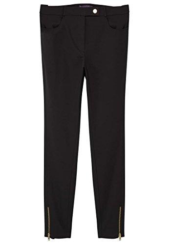 VIOLETA (Plus Size - Baumwollhose mit Röhrenhosen Zippern - Size:44 - Color:Schwarz