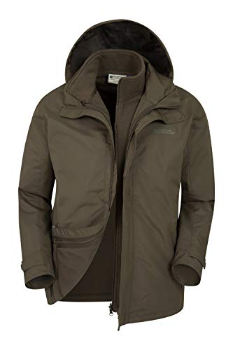 Mountain Warehouse Fell Mens 3 in 1 Water Resistant Jacket - Winter Khaki Medium