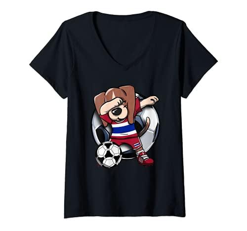 Mujer Dabbing Beagle Perro Tailandia Fútbol Jugador Dab Deporte Camiseta Cuello V
