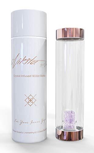 Nikita By Niki ® Botella de agua de cristal con infusion de cristal   Tapa metalica de oro rosa reutilizable Elixir curativo de cuarzo natural (500 ml) … (Ametista)