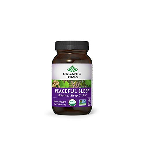 Organic India Peaceful Sleep Herbal Supplement - Supports Sleep Cycles, Vegan, Gluten-Free, USDA Certified Organic, Non-GMO, Supports Energy & Relaxation - 90 Capsules