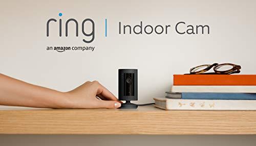Presentamos la Ring Indoor Cam, cámara de seguridad compacta, con alimentación por cable, HD, comunicación bidireccional, compatible con Alexa | Incluye 30 días gratis del plan Ring Protect | Negro