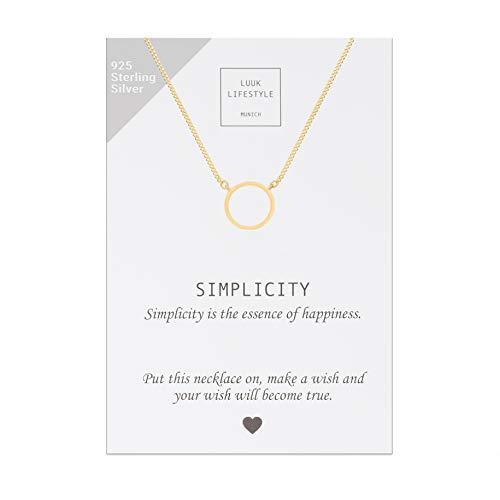 LUUK LIFESTYLE 925 Sterling Silber Halskette mit Kreis I Ring I Rund Anhänger und Simplicity Spruchkarte, Glücksbringer, Damen Schmuck, gold