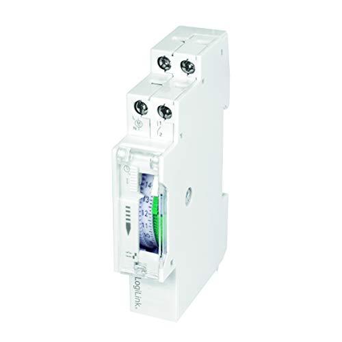 LogiLink ET0009 ET0009-DIN-RAIL Zeitschaltuhr mit mechanischem Timer zum einfachen Schalten von z.B. Neonlichter, Warmwasserbereiter, Laternen, Bewässerungsanlagen, etc, IP20 Schutz